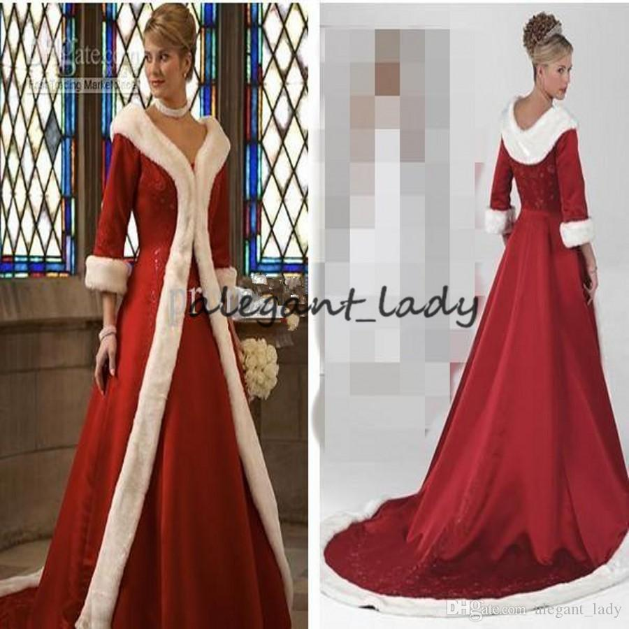 Long Sleeves Cloak Winter Ball Gown Wedding Dresses 2019 Red Warm Formal Dresses For Women Fur Appliques Christmas Gown Jacket Bridal