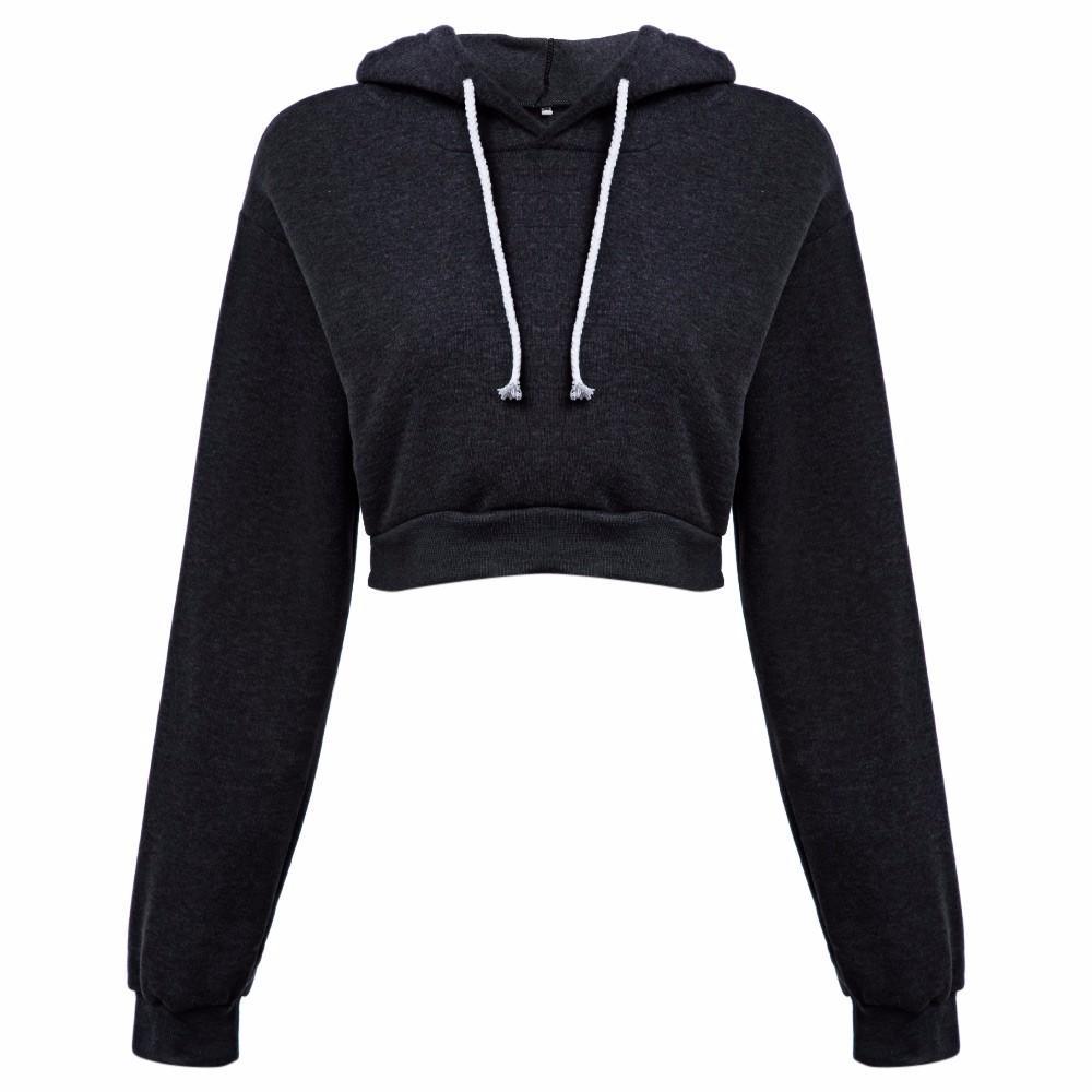 SAGUARO 새로운 캐주얼 자른 까마귀 2017 가을 겨울 여성 섹시한 짧은 후드 스웨터 여성 운동복 플러스 사이즈