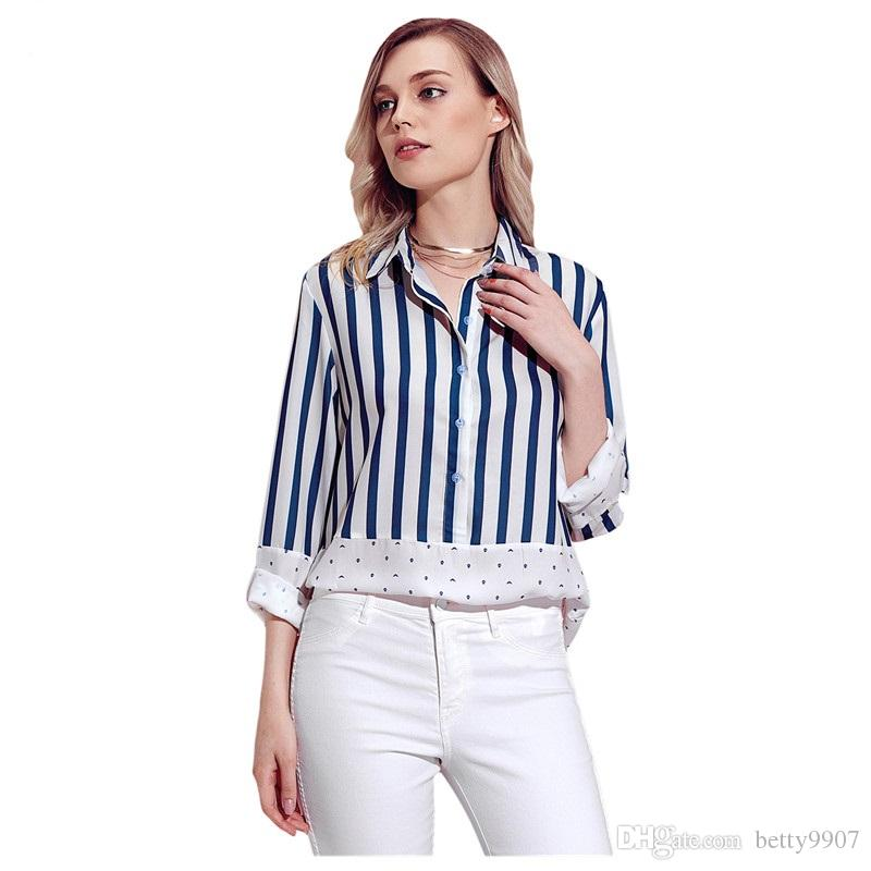 Designer Casual Shirts Blouse Patchwork Autumn Double V Color Block Blue Relaxed Boyfriend Long Sleeve Striped Polka dotsTop
