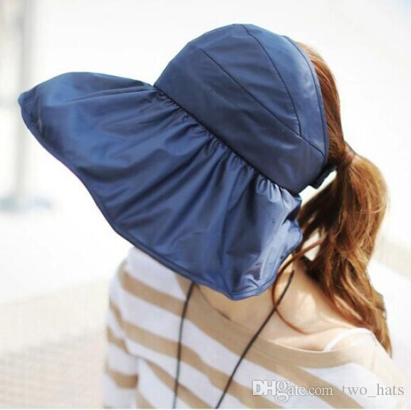 9de3d47795361 2019 Women S Visor Sun Hats Large Brim Floppy Summer Beach Sun Hat  Waterproof Foldable Cap Drawstring Cloth Hats TM And QF From Two hats