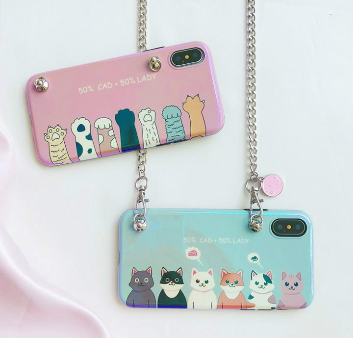 premium selection 866b8 e38b5 For iphone XS MAX Case cute cat claw kitty phone case for iphone X XR Cover  7 7plus 8 8plus 6 6s plus 6plus messenger chain bag