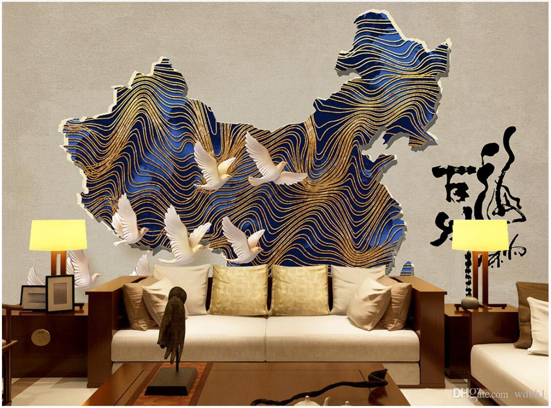3d wallpaper custom photo mural New Chinese Vintage China Map Bar Coffee Shop Tooling murals wallpaper 3d landscape wall tapestry 3d