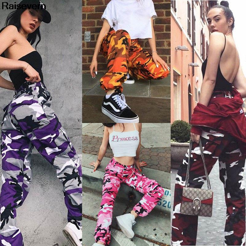 special discount of outlet on sale well known 2018 Fashion Womens Camo Cargo Trousers Casual Grey Purple Red Pants Army  Combat Camouflage Jogger Pants Dropship