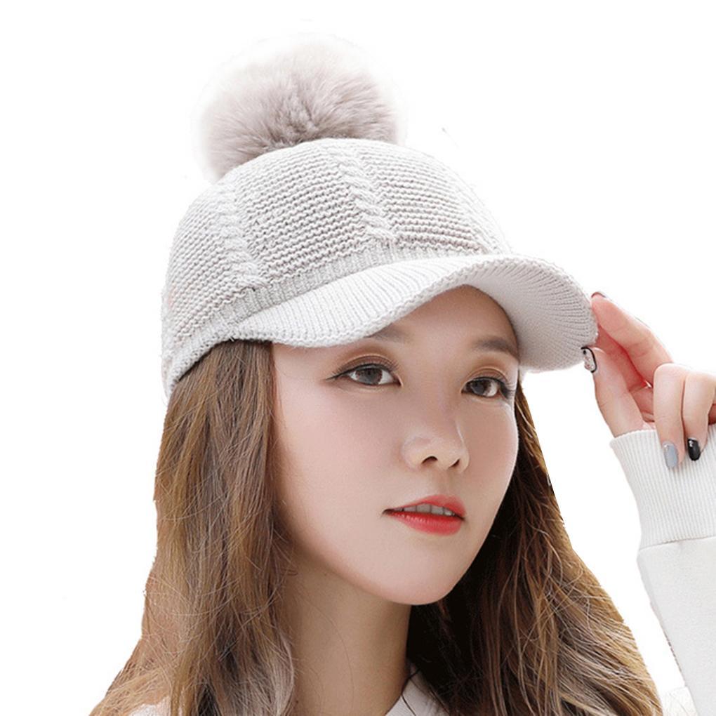 Women Warm Peaked Beanie Winter Sweet Lined Knitted Baseball Cap Detachable  Wool Unique Hat Caps Lids From Arrowhead cd0684d4fa8