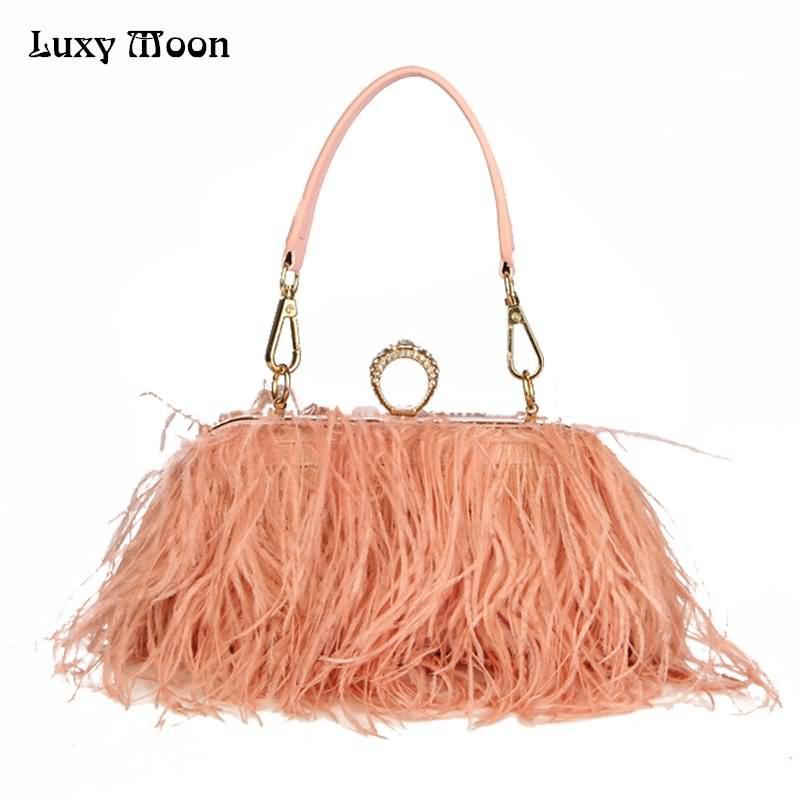 af200e1a630a4 Luxy Moon Designer Ostrich Fur Feather Wallet Clutch Bag Women ...