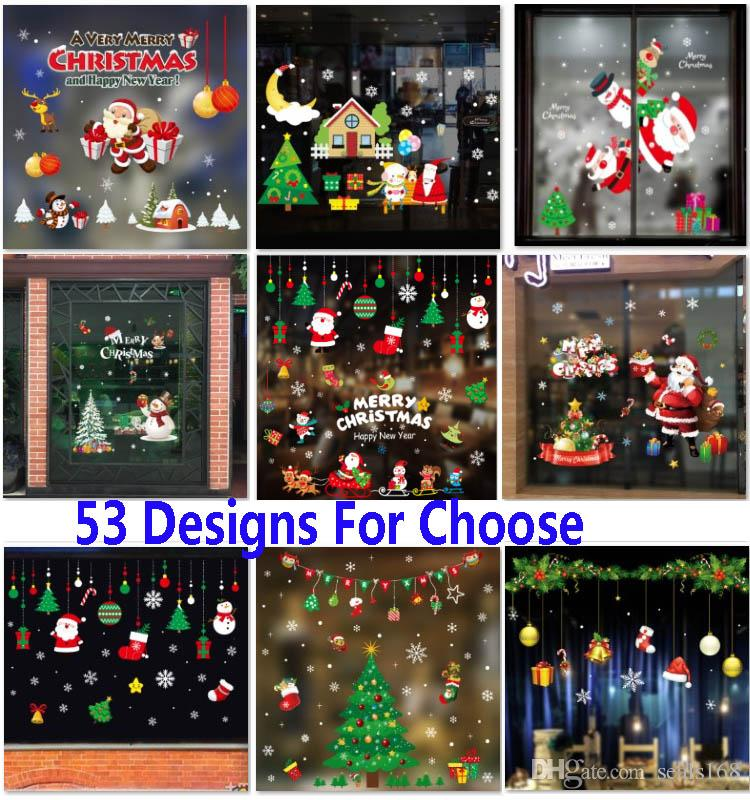Christmas Self Adhesive Stickers Decorations Clearance PvC Merry Christmas  Ornament Home Window Wall Stickers Shopping Mall Glass HH7 1872 Christmas  ... - Christmas Self Adhesive Stickers Decorations Clearance PvC Merry