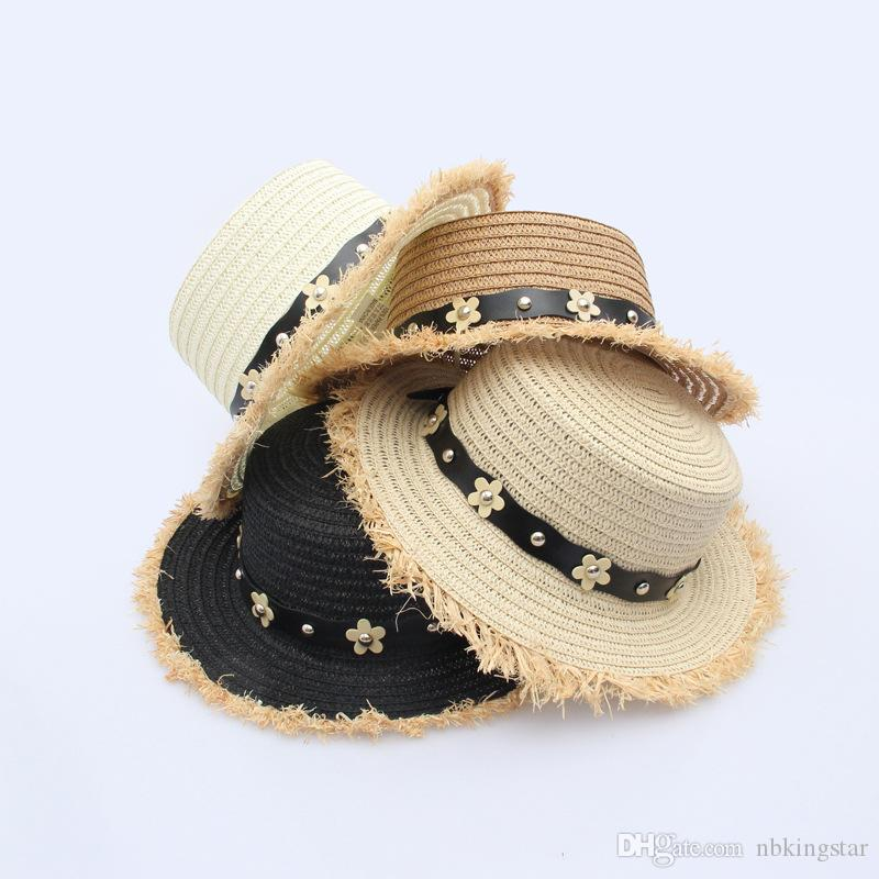 957ad8132dd 2018 Summer Lady Beach Wide Brim Sun Hat Women Flat Top Straw Hat With  Three Flloral Leather Bands Baby Sun Hat Summer Hats For Women From  Nbkingstar