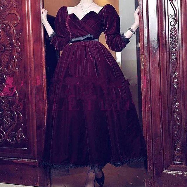 38b981065c8 2019 Hot Sale Burgundy Velvet Sweetheart Neck Evening Dresses Short Sleeve  Belt Tea Length Lace Formal Occasion Prom Dresses Custom Made Vintage  Evening ...
