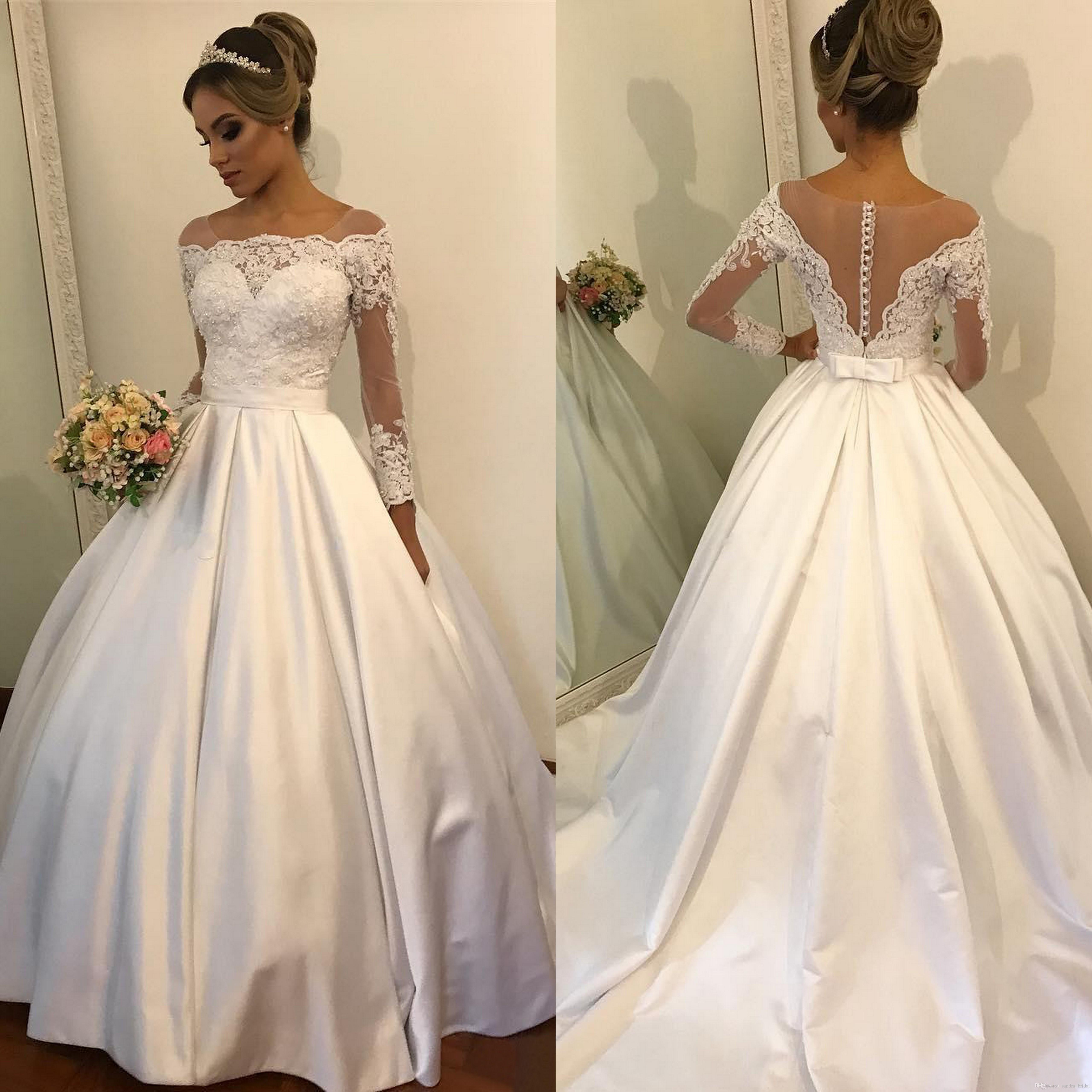 Long Sleeve Wedding Dress Vintage Sheer Neck Button Covered Ball ...