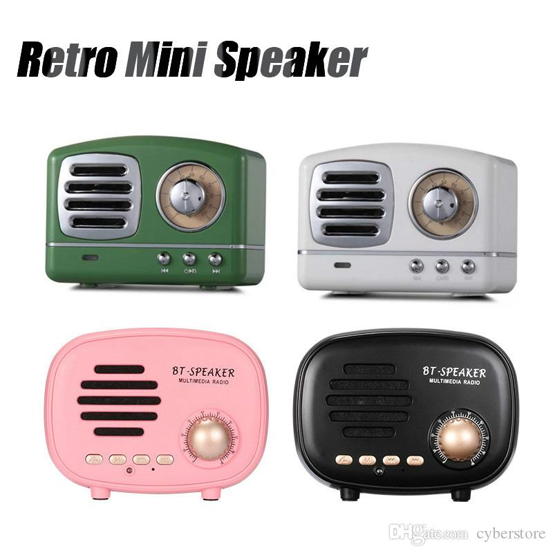 Retro Mini Portable Bluetooth Speaker Subwoofer Heavy Bass Multimedia Radio  U disk TF FM Handsfree With Retail Package For iPhone Samsung