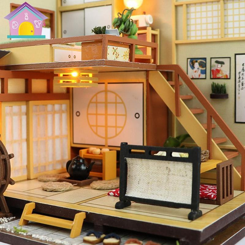 Japan Style Kids DIY Miniature Dollhouse House Children Building Handmade Assembly Wood Hut Toy Birthday Gifts For Girls Dolls Houses Online Wooden