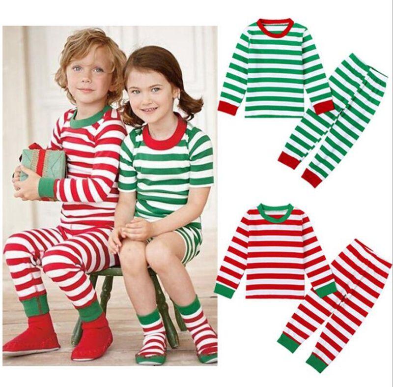 3b73e2377 INS Christmas Pajamas Sets Kids Xmas Stripe Sleepwear Nightwear Baby ...