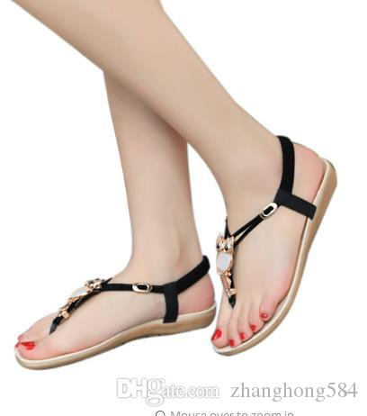 b227632b28eda3 New Women Sandals Summer Fashion Flip Flops Female Sandals Flat Shoes  Bohemia Causal Ladies Footwear Solid Women Shoes YBT143 High Heel Shoes  Wholesale ...