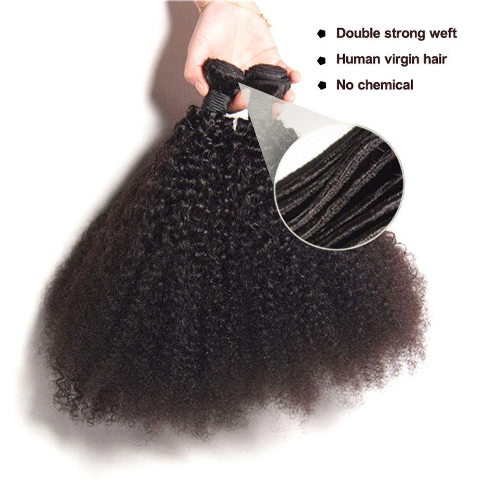 1 paquete / lote mongol rizado rizado rizado pelo humano virginal sin procesar Remy teje tramas dobles 100 g / paquete tramas del pelo