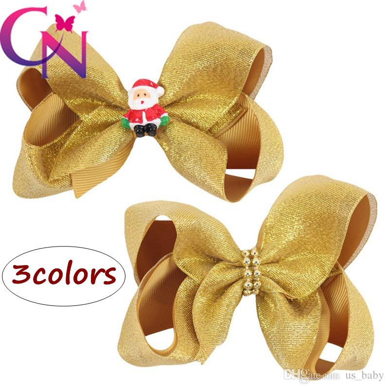 056027f7d5086 4Inches Girl Gold Barrettes Kids INS Santa Claus Beads Design Hair Bow  Children Boutique Hair Clips Hair Accessories For Baby Girl Baby Girls Hair  ...