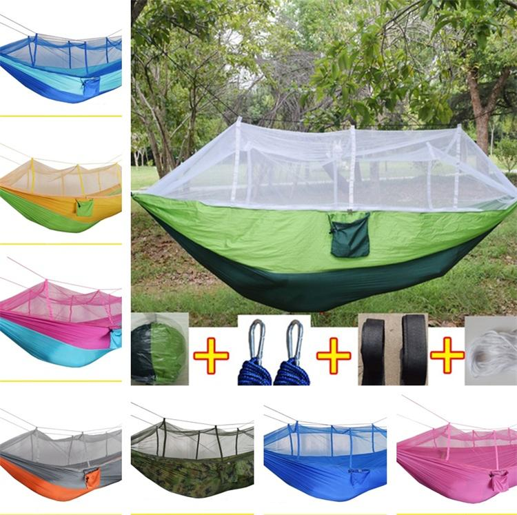 new sttyle Mosquito Net Hammock Outdoor Parachute Cloth Field Outdoor Hammock Garden Camping Swing Hanging Bed T5I112