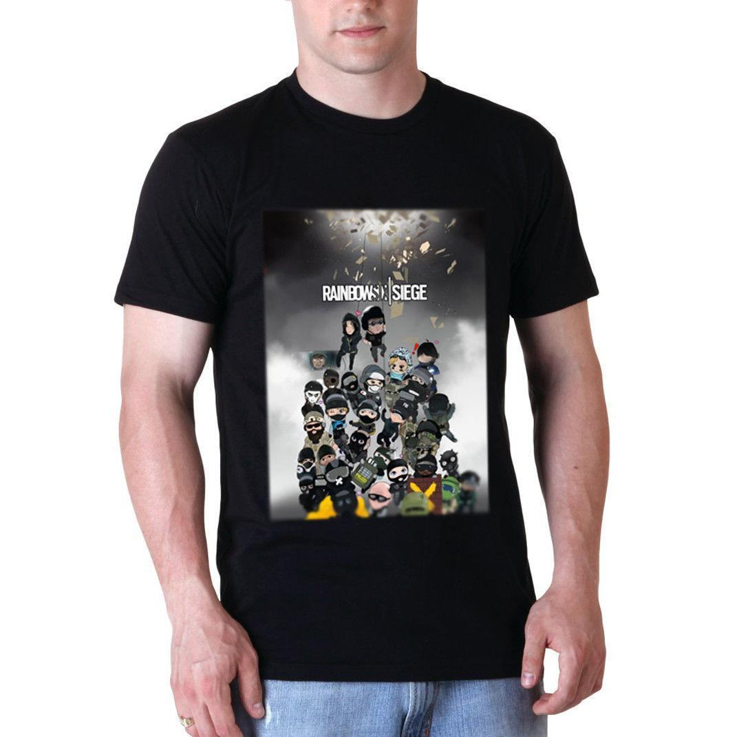 Rainbow Six Siege Chibi Tee Black Cotton Tshirt NEW Men's T-Shirt Size S to  3XL