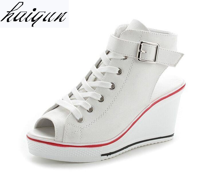 New Ladies Platform Sandals Summer Open Toe Sandals Women S Shoes Slope  With Platform Wedge Sandals Pink Black White Red Eu35 43 White Sandals  Wedge Heels ... 4e343e693