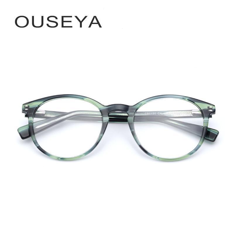 01f0549a1 Compre Acetato Rodada Óculos Mulheres Transparente Claro Moda Decorativa Sem  Grau Lente Grande Armacao De Óculos Para As Mulheres # CB5190 De Zhijin, ...