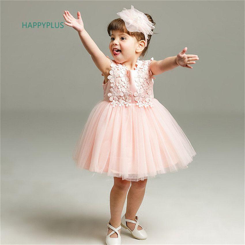 7909a266c Compre Vestido Rosa De HAPPYPLUS Para El Cumpleaños 1 Año De La Fiesta De  Niña De Bebé Vestido De Concurso De Verano De 2 Años De Ropa Para Niñas  Bebés A ...