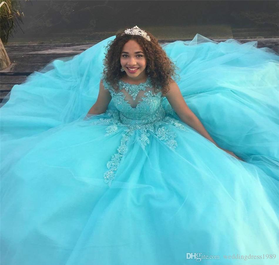 Dolce 16 età Abiti Quinceanera Puffy Beads Sheer Neck Pizzo Applique Tulle Corpetto Lungo Prom Dresses Pageant Formal Party Ball Personalizzato