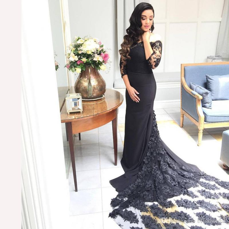 58765d510a26 Elegant Off The Shoulder Black Mermaid Prom Dresses With Long Flowers Tail  3 4 Long Sleeve Lace Top Formal Party Gown Zipper Back Best Prom Dresses  Blue ...