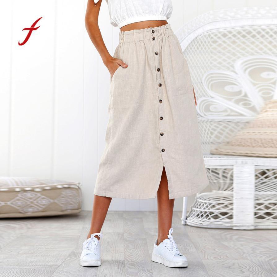58b55878875b Feitong 2018 Frauen Leinen Baumwolle lange Röcke Damen täglichen Sommer  Böhmen hohe Taille Button Strand Wrap Maxi langen Rock