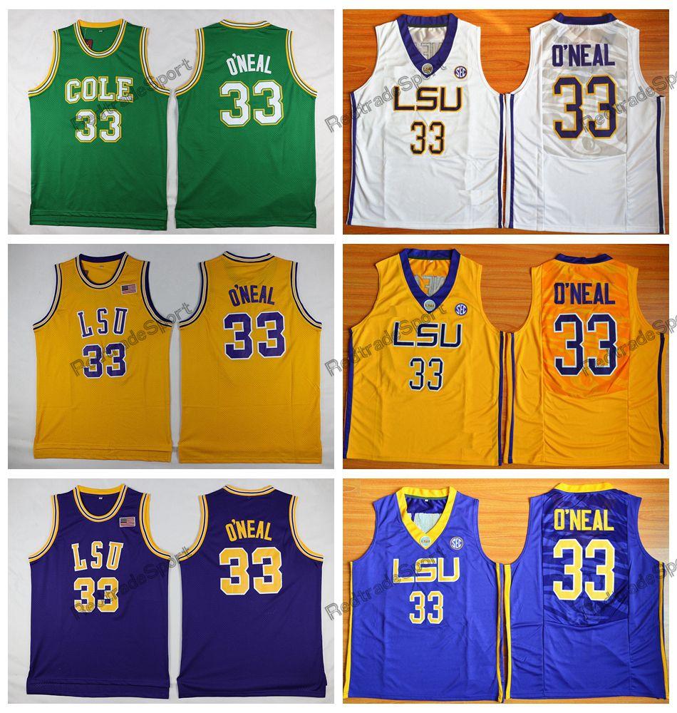 127053cfff9d Mens Cheap Shaq O NEAL 33 COLE High School Basketball Jerseys College LSU  Tigers Ben Simmons 25 Shaquille O Neal Stitched Shirts Shaq O NEAL Jersey  Shaq ...