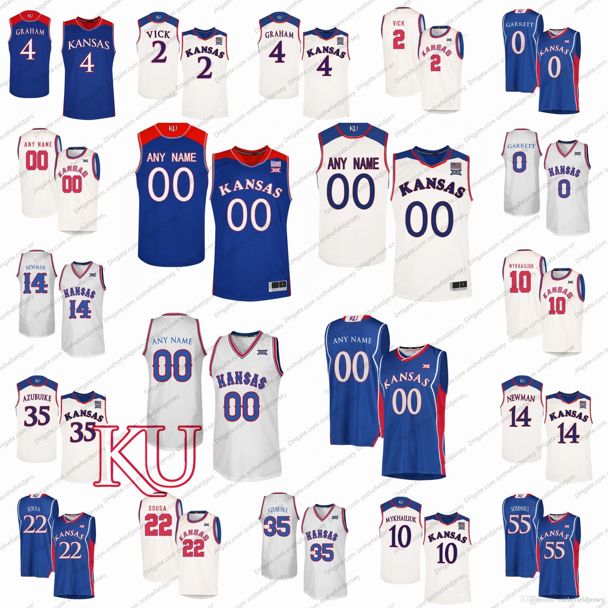 0a4351f75 2019 Custom Kansas Jayhawks NCAA Basketball Jerseys Any Name Number  0  Marcus Garrett 2 Vick 4 Devonte Graham 10 Sviatoslav Mykhailiuk S 3XL From  ...
