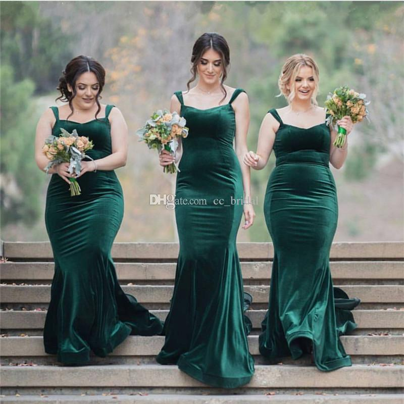 Elegant Velvet Mermaid Bridesmaid Dresses 2018 Sexy Straps Country Maid of the Honor Dress for Weddings Cheap Formal Evening Party Gowns