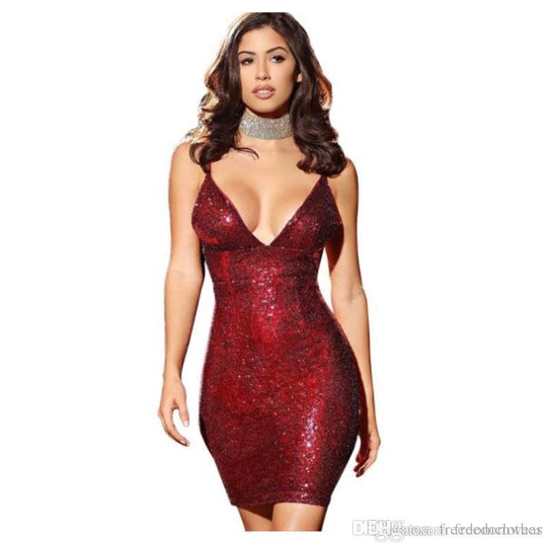 252a1d52f44 Sexy Party Dress Women Fashion Spaghetti Strap Sheath Dresses Women  Sleeveless Sequins Night Club Women Dress Sexy Dress Bodycon Dress Night  Club Dress ...