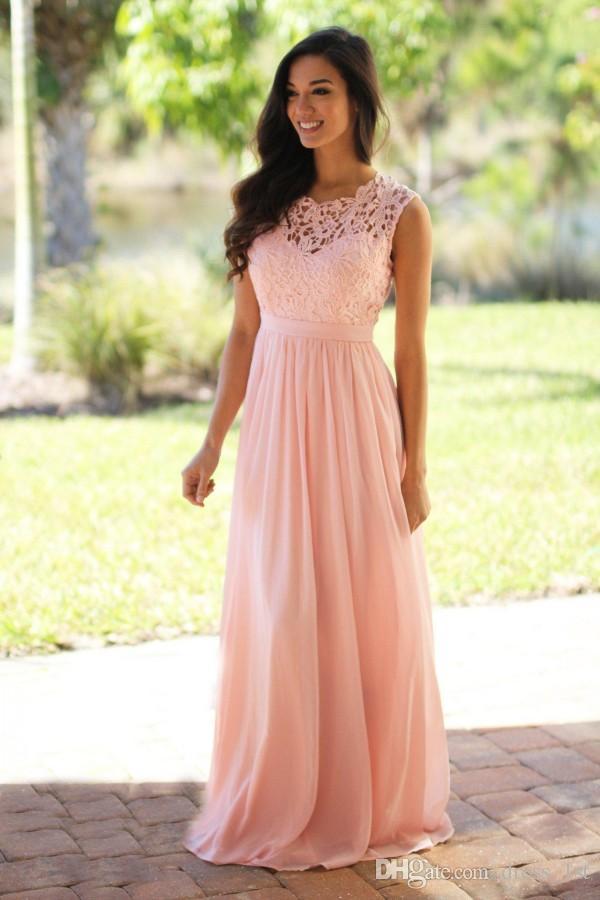 2019 dernières robes de demoiselle d'honneur de pays à long bijou cou une ligne blush rose jolie dentelle et mousseline de soie élégante demoiselle d'honneur robes de robe de soirée