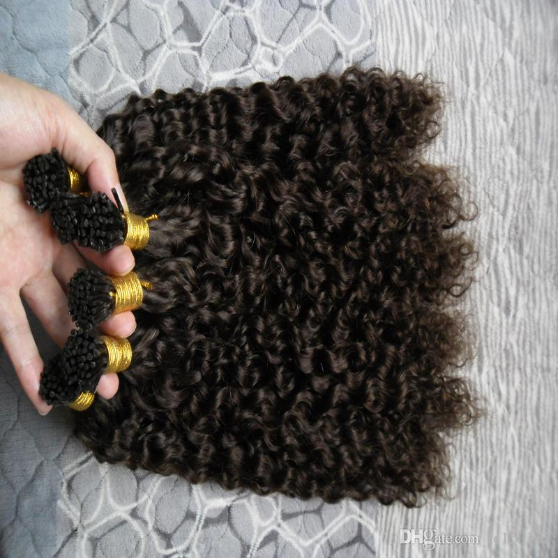 Extensões de Cabelo Fusão Prebonded Kinky Curly 300g / vertentes Queratina Vara I Dica Brasileiro Prebonded Extensões de Cabelo Humano # 2 Darkest Brown