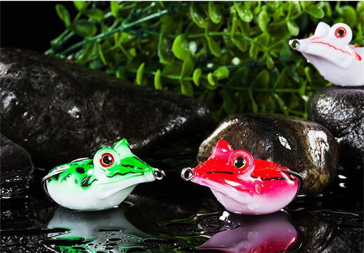 3D большие глаза мягкие резиновые лягушка змееголов рыболовные приманки 4.5 см 14 г плавающей плавание поппер сильное искушение приманки