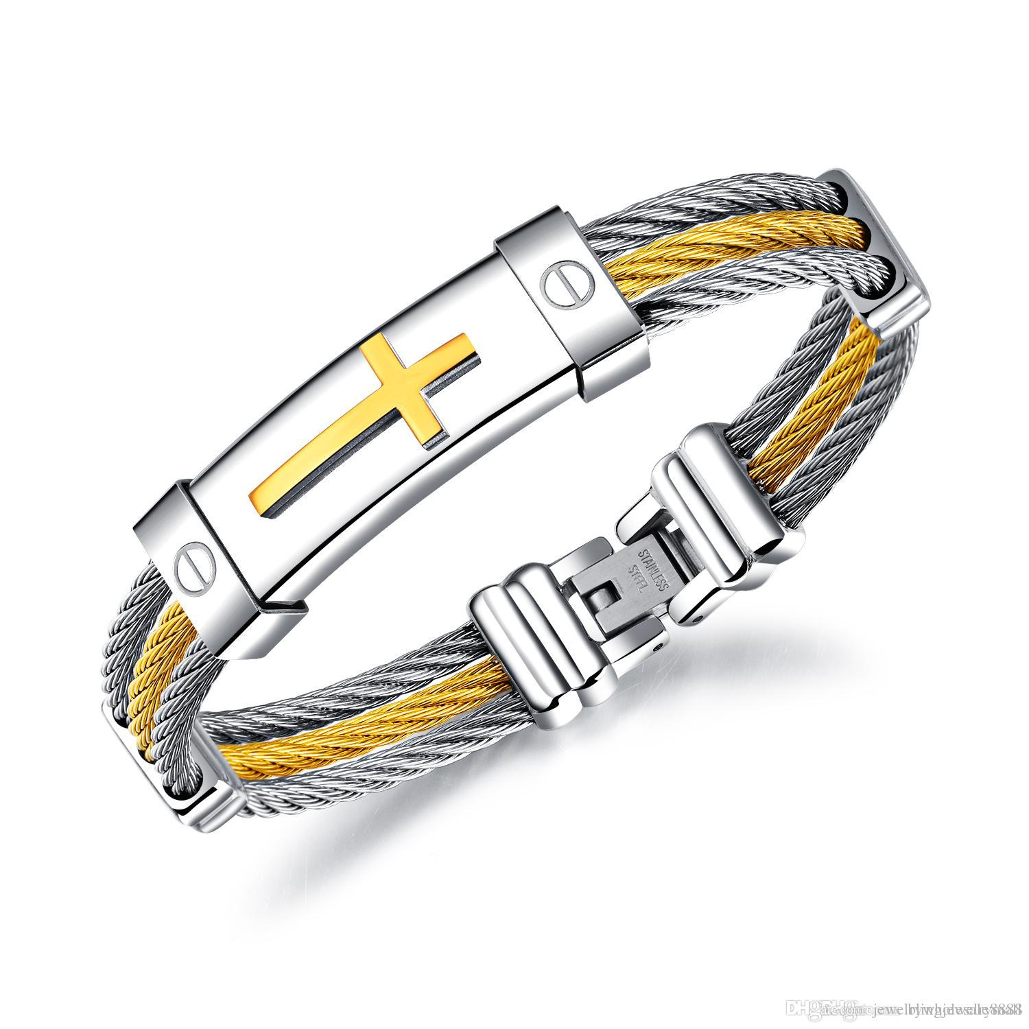 Three Layers Steel Wire Rope Cross Bangles For Men Stainless Steel ...