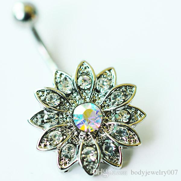 D0691   Clear AB Sunflower style navel button ring piercing body jewlery 1.6*11*5/8 belly ring Body Jewelry