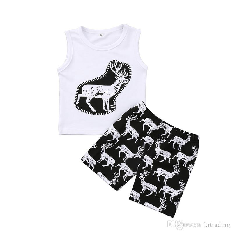 Toddlers cute deer pineapple cartoon printing summer outfits 2pc sets sleeveless white printing T shirts+short pants baby casual beach cloth