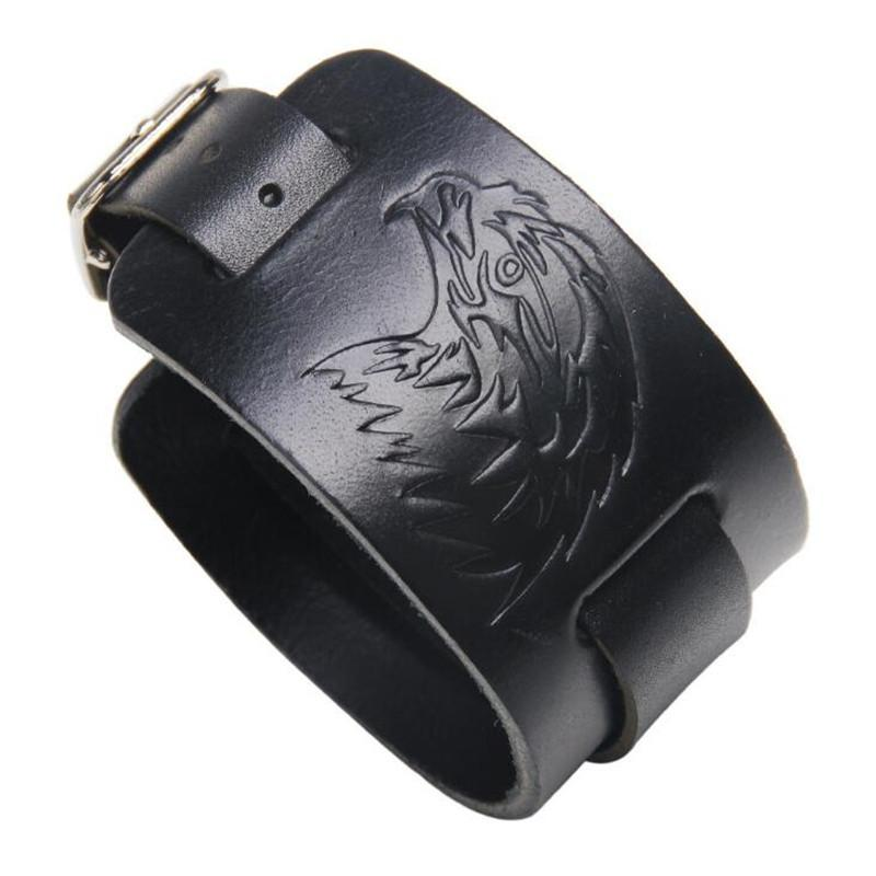 2019 New Punk Genuine Leather Wristband Bracelet Wolf Eagle Leather Cuff Bangle Jewelry For Men Gift