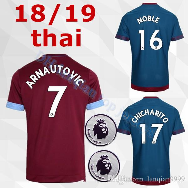 5f38cb14a87bd 2018 2019 West Ham United Camiseta De Fútbol Arnautovic Lanzini Snodgrass  Noble Chicharito Ayew Local Visitante Personalizada 18 19 Niños Adultos  Camiseta ...