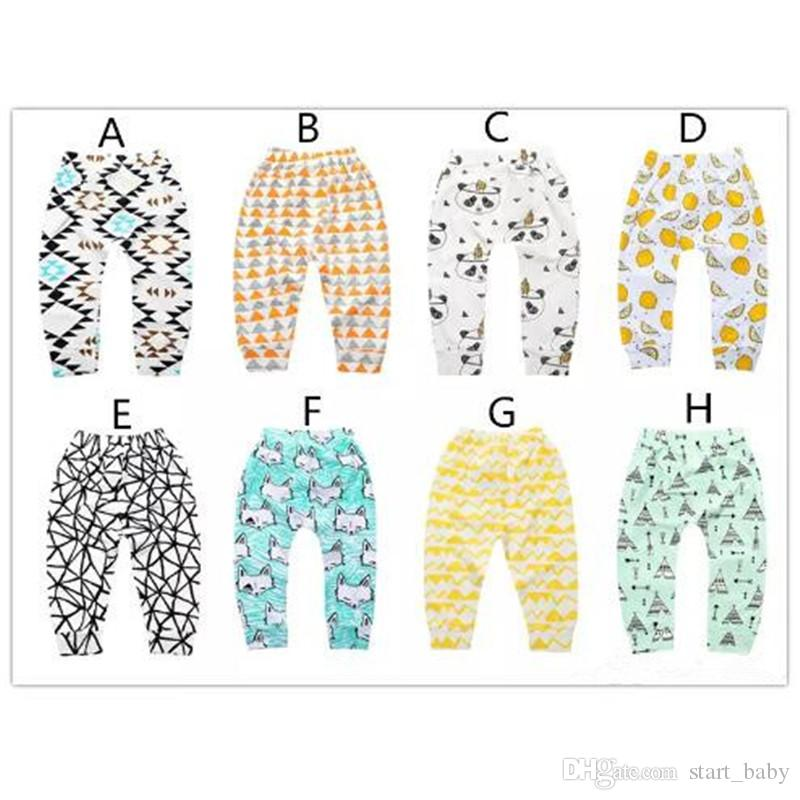 Infants cartoon patterns printing pants cute cactus bears watermelon lemon geometry pattern toddlers leggings 4 sizes for boys girls baby B1