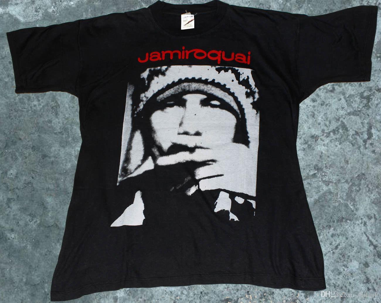 6ff0ed91b0e7f rare 1996 EUROPE TOUR JAMIROQUAI T-SHIRT vintage Reprint SILHOUETTE  Alternative High Quality Custom Printed Tops Hipster Tees T-Shirt