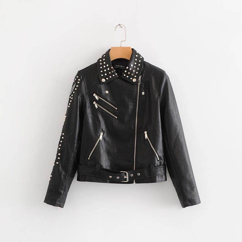 Women Fashion Letters Appliques Black Rivet Short Leather Jacket