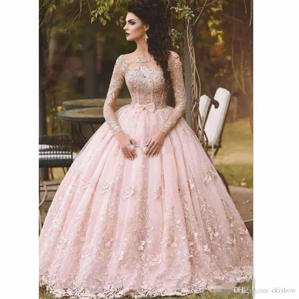2018 Vintage Blush Long Sleeve Lace Appliqued Ball Gown Prom Dresses Bow Sheer Neck Sweet Girls Debutantes Quinceanera Dress Evening Gown