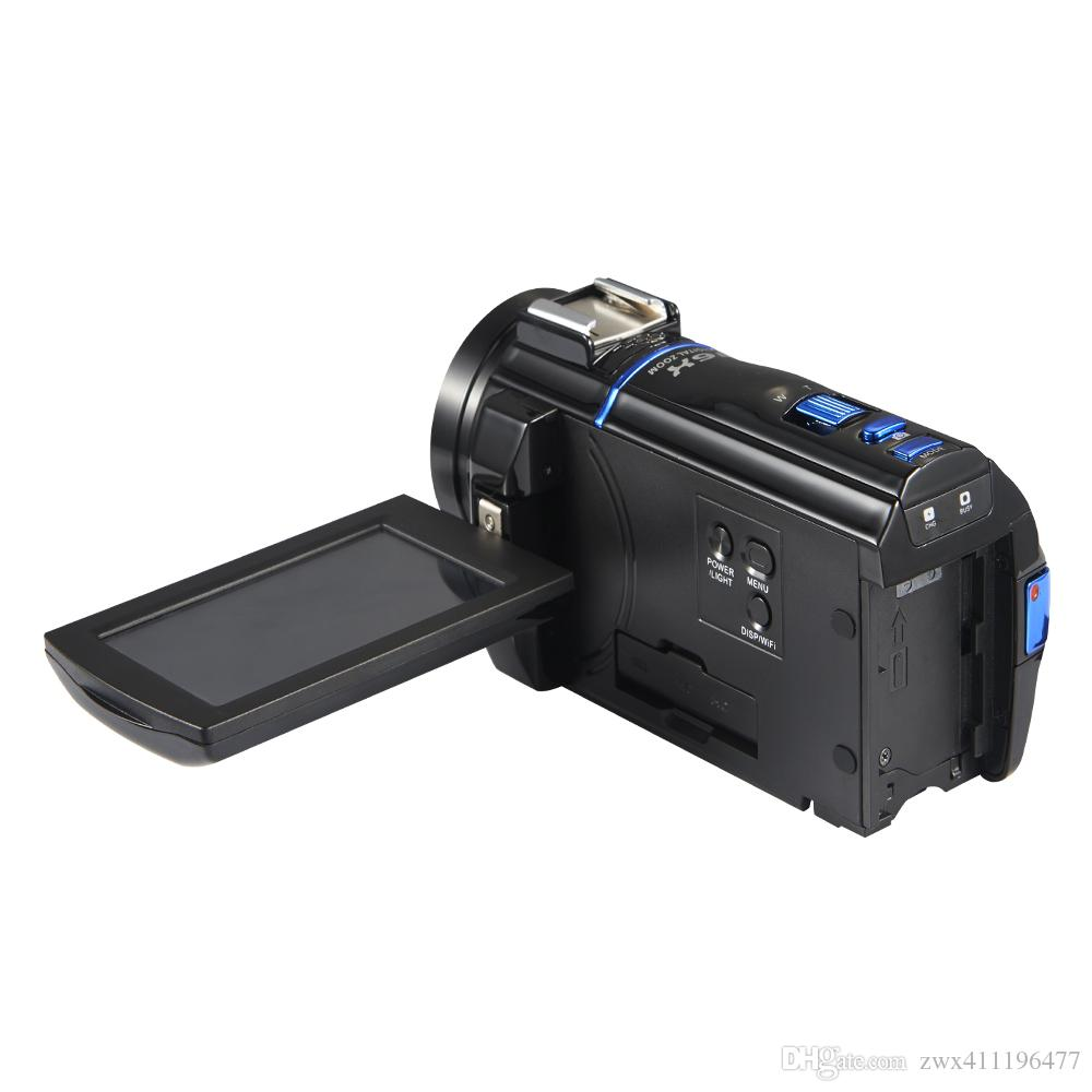 Video Kamera, 4K Dijital Video Kamera 30MP 2880x2160 HD IR Gece Görüş Desteği ile 3 inç Dokunmatik Ekran Handy Kamera 16X Zoom Kamera + Mic