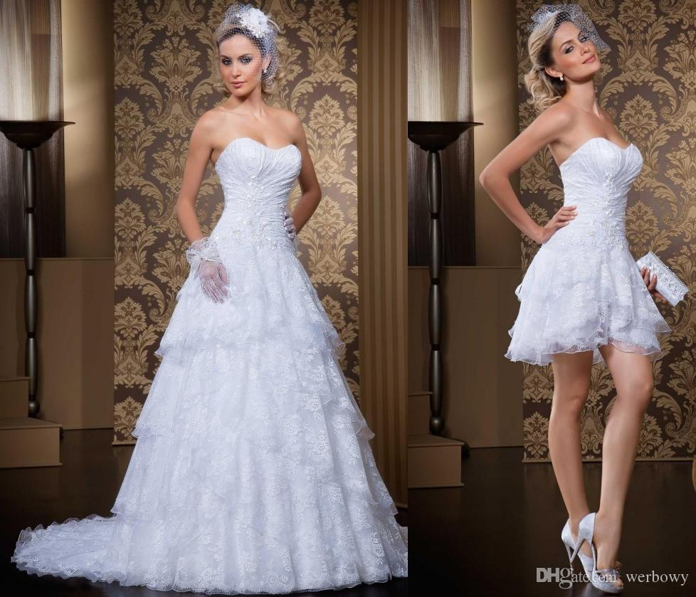 new product 02c27 74a64 New Style 2 In 1 Brautkleider Vintage Schatz Sexy Schatz Vestidos De Novia  Brautkleider Mit Abnehmbarem Rock HY4004