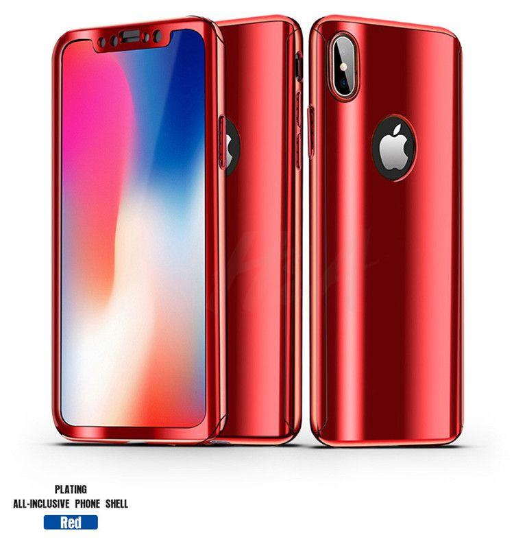 2017 360 grad ganzkörper galvanisieren überzug spiegel harte pc phone case abdeckung für iphone x 8 7 6 plus mit gehärtetem glas displayschutzfolie
