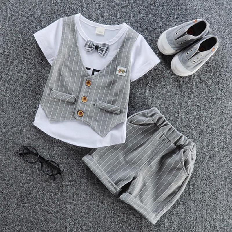 Compre 2018 Niños Ropa Hermosa Niños Camiseta Casual Con Chaleco Falso +  Pantalón   Set Conjuntos De Verano De Moda De Niños. a0a3e3dcbe5e9