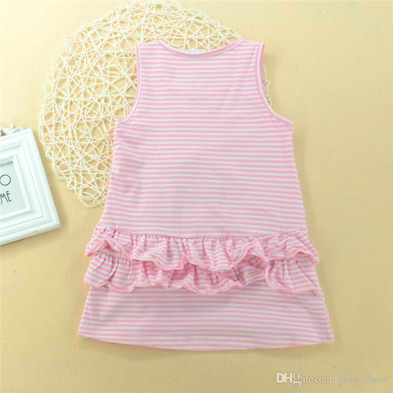 Roupas de verão do bebê menina vestido sem mangas cisne vestido de verão da criança bonito crianças clothing vestidos listrados animal dress boutique outfits