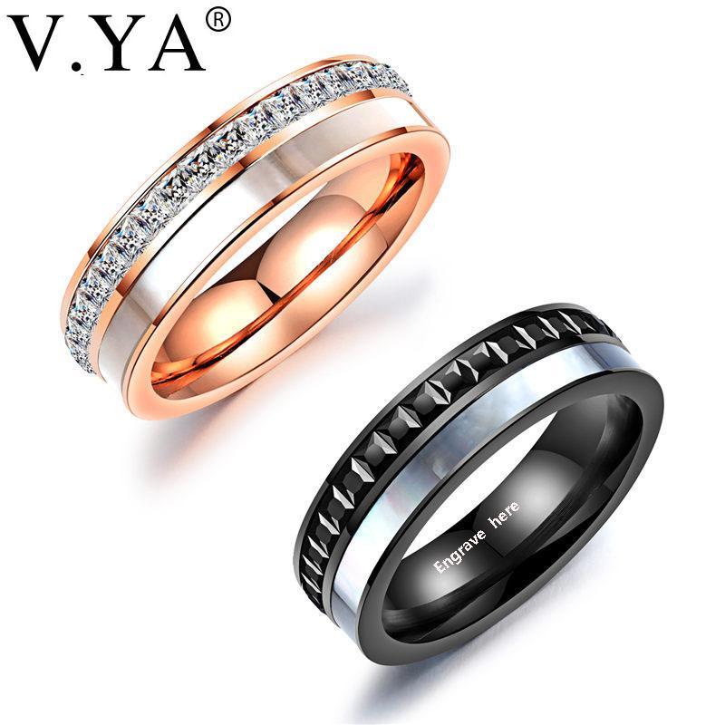 Grosshandel V Ya Romantische Gravieren Paar Ringe Hochzeit Schmuck