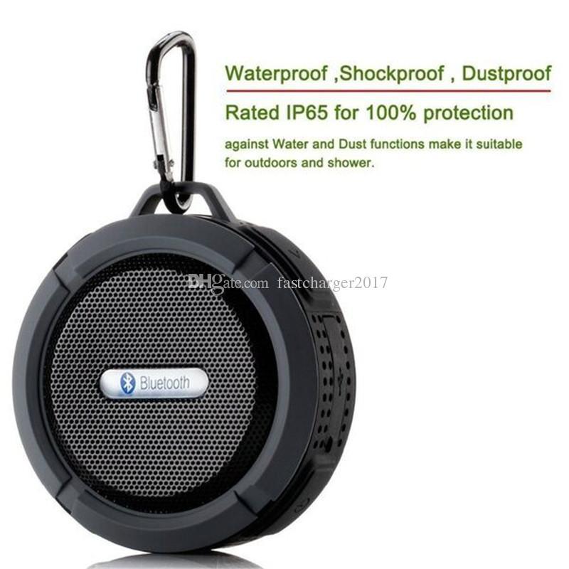 C6 lautsprecher tragbare wasserdichte drahtlose bluetooth lautsprecher saugnapf freisprecheinrichtung mic stimme box für iphone 6 7 8 ipad pc telefon
